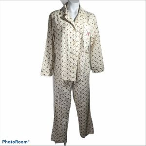 Chaps Flannel Pajamas L Ivory Red Flowers Women's